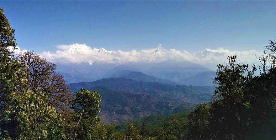 Mt. Fishtail & Annapurna South as seen from on the way to Panchase Trek 2 days trekking from Pokhara