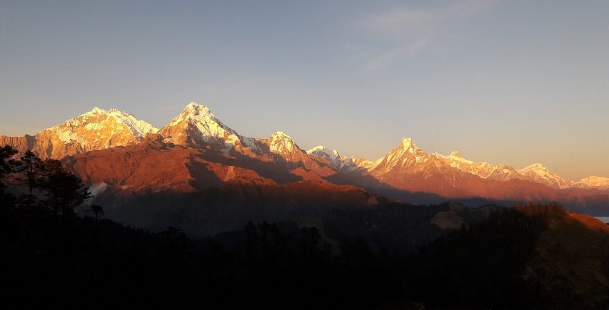 Evening sunset view of Annapurna mountain range from Muldai view point 3637m.