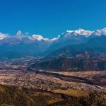 View of the Himalayan mountain landscape Dhaulagiri mountain, Annapurna range and Machapuchare mountain from Sarangkot hill on North Nepal's Pokhara Sightseeing Tour 1 Day package