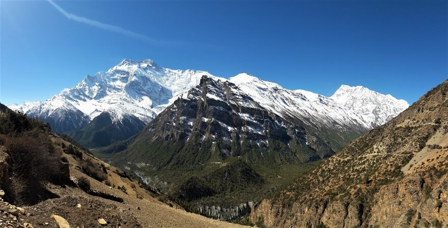 Manang District, Annapurna III( left,7555m) and Gangapurna 7455m peaks are on the background.