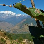 Photograph of Modi Khola Valley with Annapurna in background taken from Sikles Village.