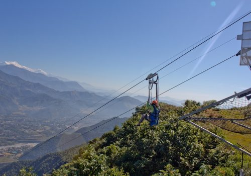 Zip line/ Zip flyer in Pokharaconnecting Sarangkot to Hemja, the one and only zip line of Nepal