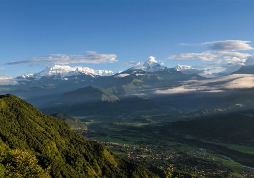 Mt. Fishtail and Annapurna mountain range as seen from sarangkot view point during Pokhara tour by North Nepal Travel