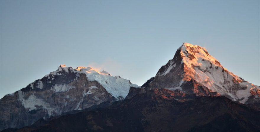 Sunrise over Annapurna South 7,219m and Annapurna Fang 7,647m as seen from Poon Hill view point.