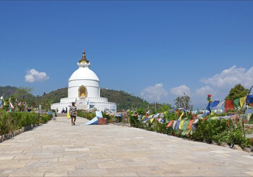 Beautiful view of peace pagoda pokhara during the north nepal travel hiking 2018.