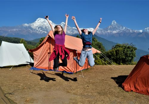 Trekkers enjoying the Australian Camp Nepal day hike in Pokhara, Nepal