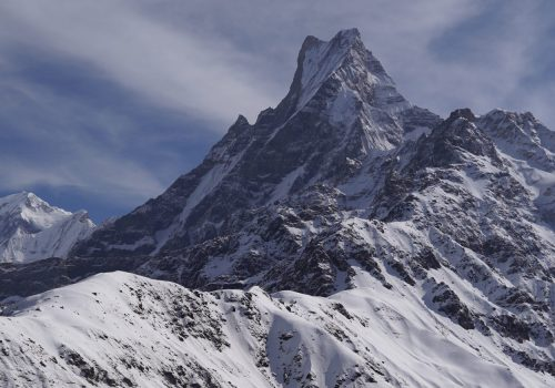 Astounding views of Macchapuchre and Mardi from the route on North Nepal's Mardi Himal Trek 9 days package