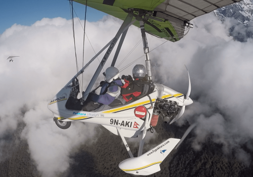 Ultralight plane fly over Pokhara and Annapurna mountain region on North Nepal's Ultralight package