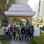 A group photo of North Nepal Travel team and Macdonald family took at Chame on our trekking in Himalaya with children June 2019.