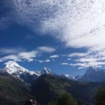 Annapurna south , Hiuchuli and Fishtail mountain left, middle and right respectively as seen during the mohore danda trek
