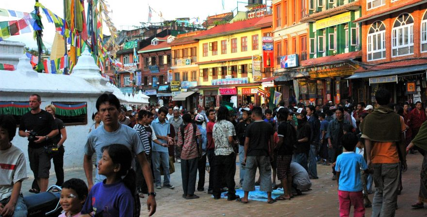 Tourists in Kathmandu walking in the crowds, North Nepal Travels and Treks